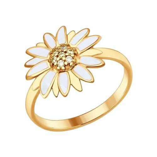 Кольцо из золочёного серебра с эмалью с жёлтыми фианитами