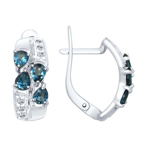 Серьги из серебра с синими топазами и фианитами (92021810) - фото