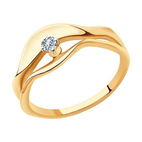 Кольцо из золота с бриллиантом (1011903) - фото