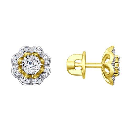 Серьги из желтого золота с бриллиантами (1021211-2) - фото