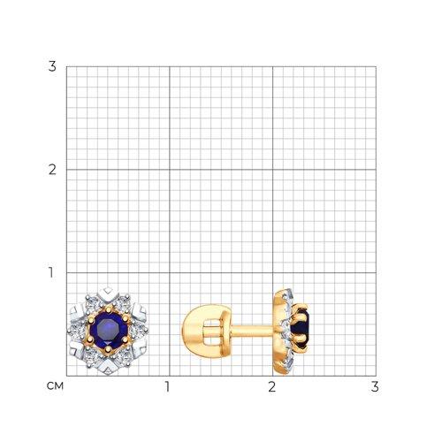Серьги из золота с синими корундами и фианитами 725781 SOKOLOV фото 2
