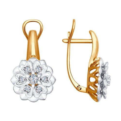 Серьги «Снежинки» из золота с бриллиантами (1021147) - фото