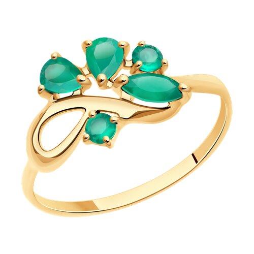 Кольцо из золота с агатами (714611) - фото