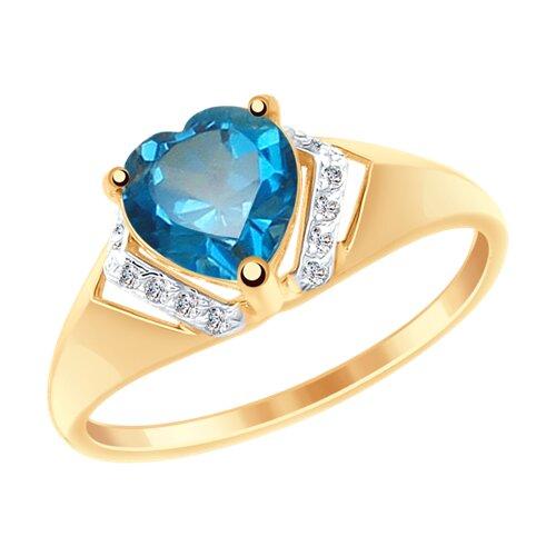 Кольцо из золота с синим топазом и фианитами (715015) - фото