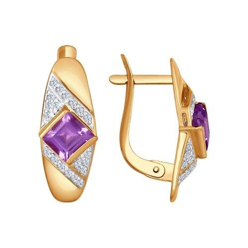 Серьги из золота с аметистами и фианитами