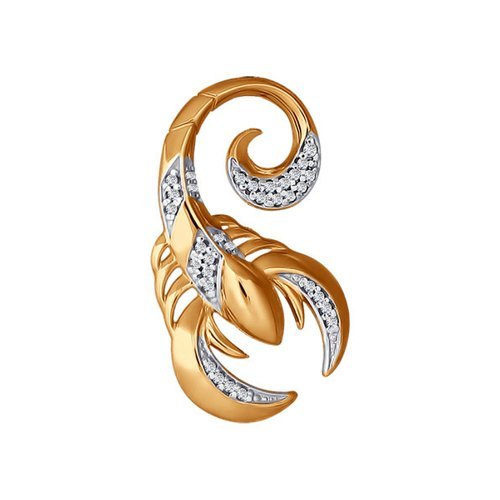 Подвеска «Знак зодиака Скорпион» с фианитами