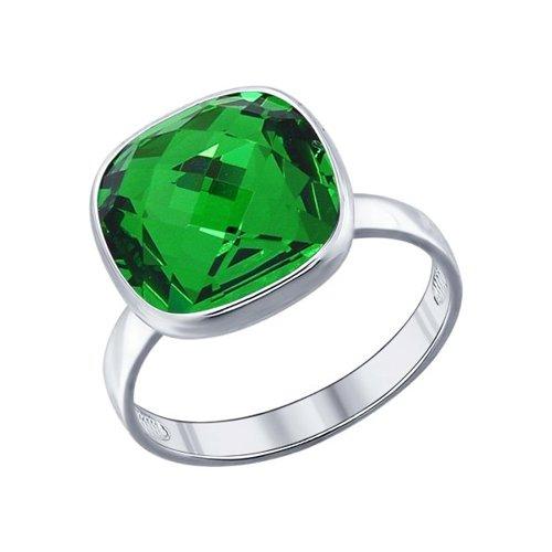 Кольцо из серебра с зелёным кристаллом swarovski