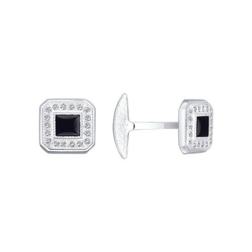 цена Серебряные запонки для рубашки с квадратной вставкой SOKOLOV онлайн в 2017 году