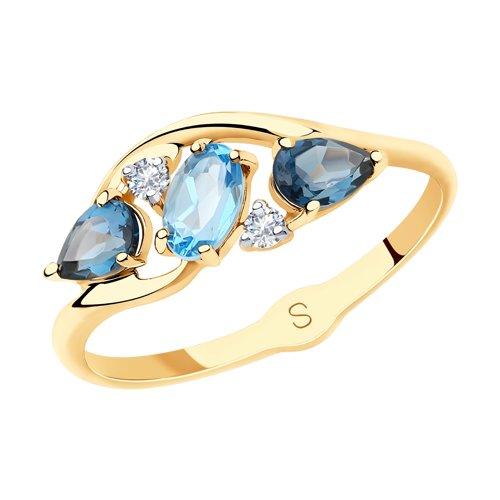 Кольцо из золота с голубым и синими топазами и фианитами (715627) - фото