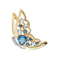 Брошь из золота с голубыми и синими топазами и фианитами