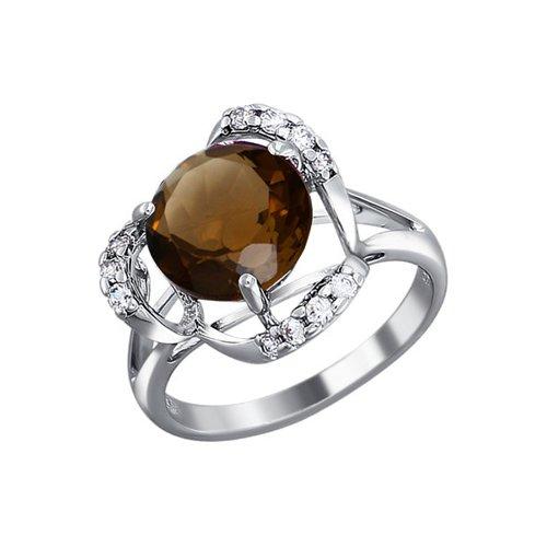 Кольцо из серебра c крупным круглым раухтопазом и фианитами