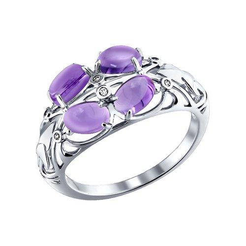 цена на Объёмное серебряное кольцо с аметистами SOKOLOV