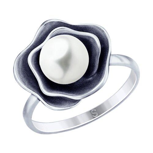 Кольцо из чернёного серебра с жемчугом (95010125) - фото