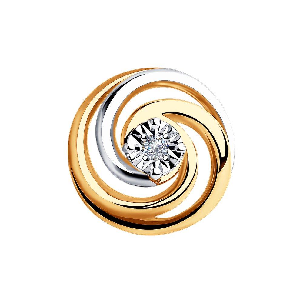 Подвеска SOKOLOV из комбинированного золота с бриллиантом фото