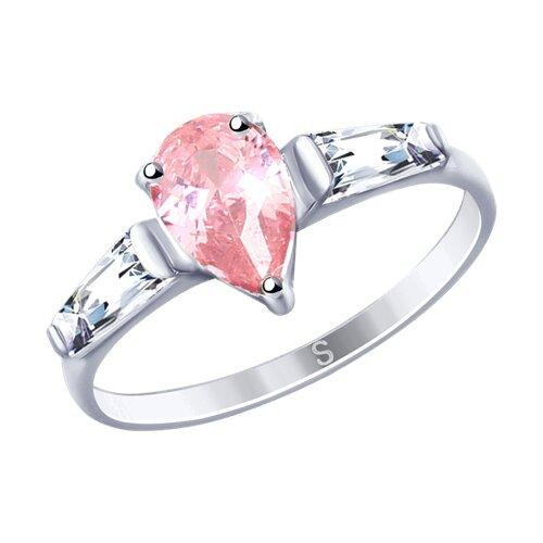 Кольцо из серебра с фианитами (94012746) - фото