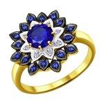 Кольцо из желтого золота с бриллиантами и синими корунд (синт.)