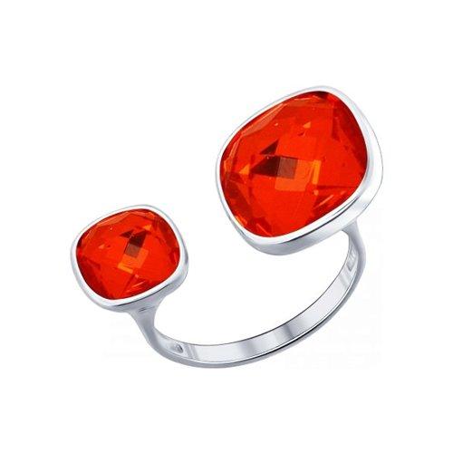 Кольцо из серебра с оранжевыми кристаллами swarovski