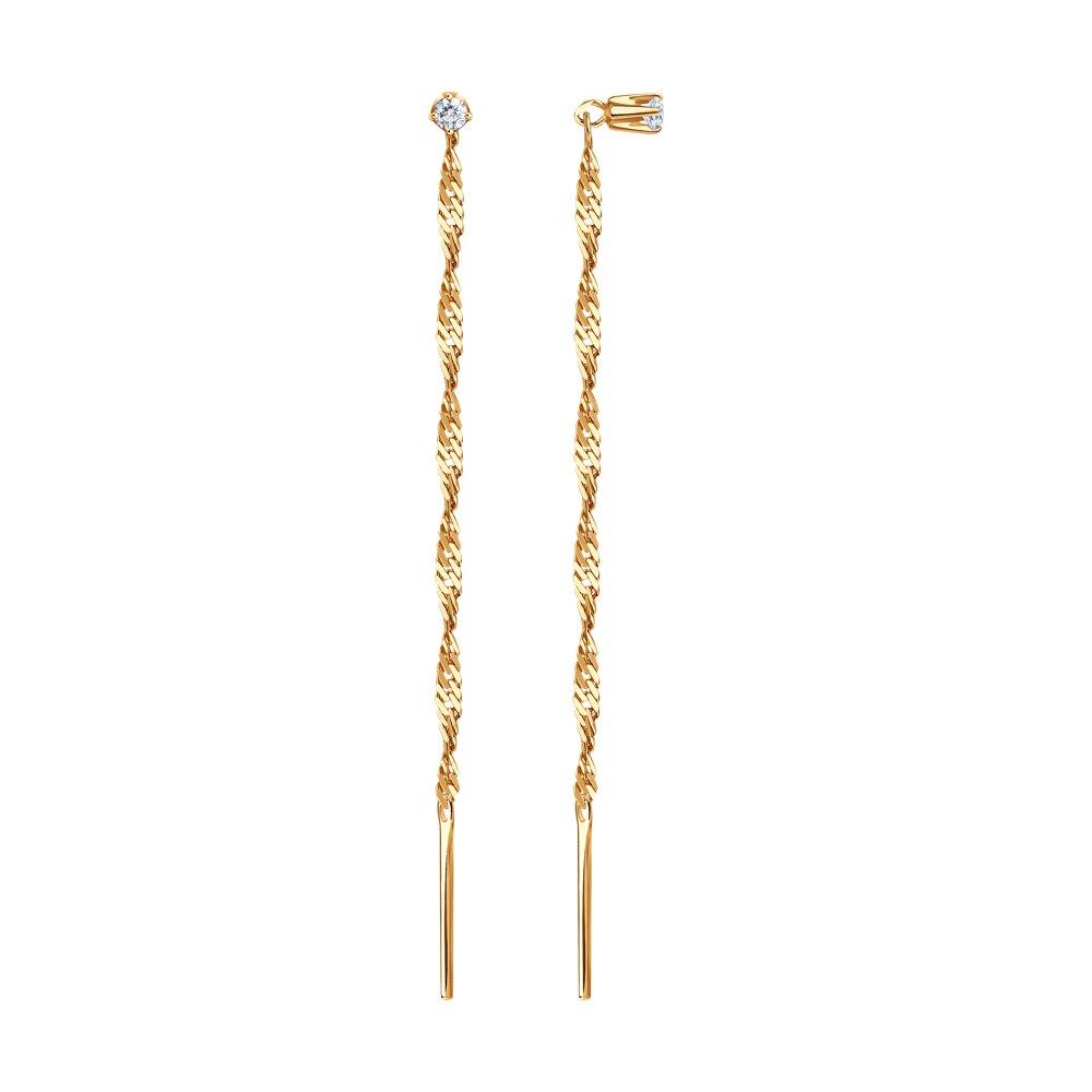 Золотые серьги-продёвки с фианитом SOKOLOV