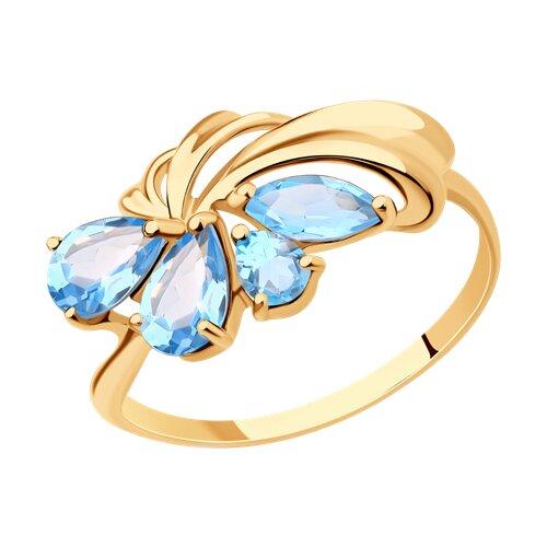 Кольцо из золота с голубыми топазами (714630) - фото