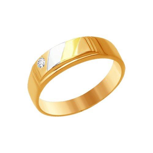 Печатка из комбинированного золота с фианитом