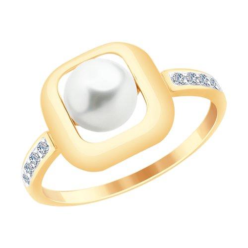 Кольцо из золота с жемчугом и фианитами (791058) - фото