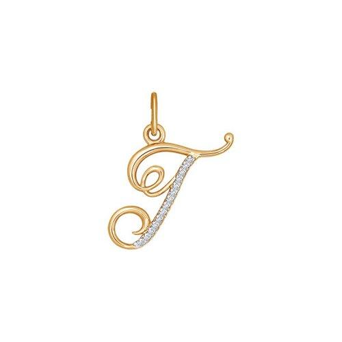 "Подвеска-буква ""Г"" из золота с фианитами 034528 sokolov фото"