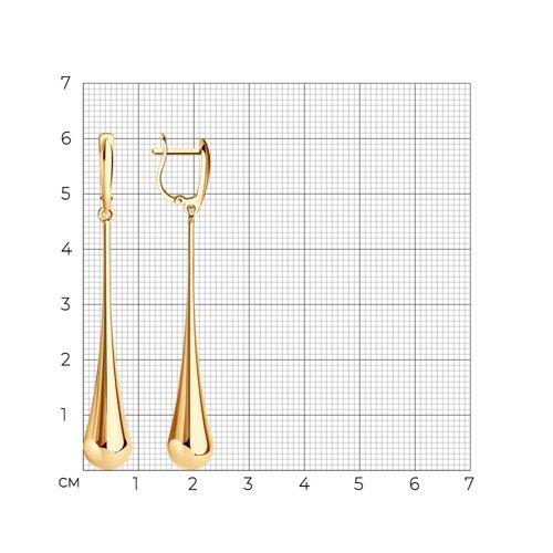 Серьги длинные из золота (026986) - фото №2