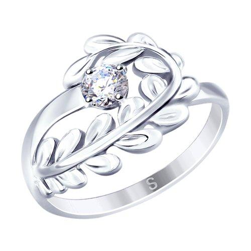 Кольцо из серебра с фианитом (94012654) - фото