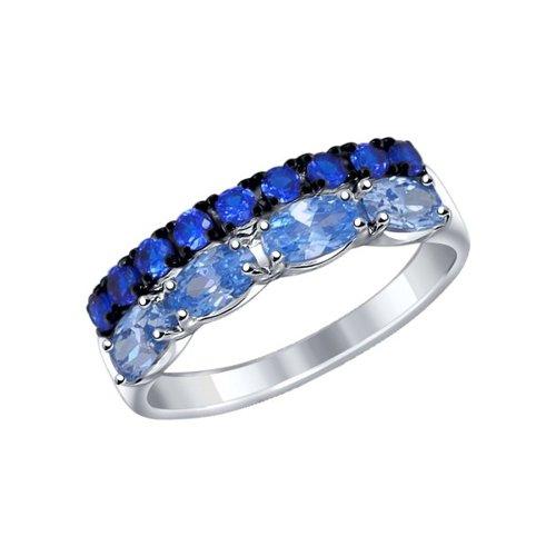 Кольцо из серебра с синими и голубыми фианитами