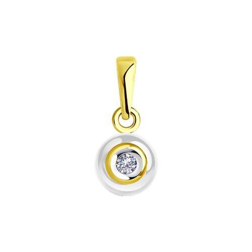 Подвеска из желтого золота с бриллиантом и белым керамической вставкой