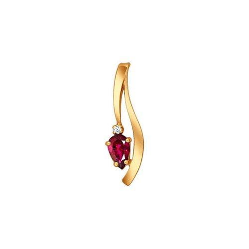 Подвеска из золота с бриллиантом и рубином