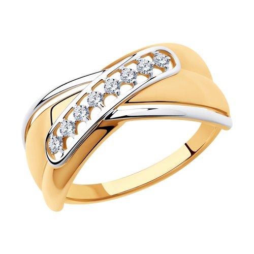 Кольцо из золота с фианитами (018318) - фото