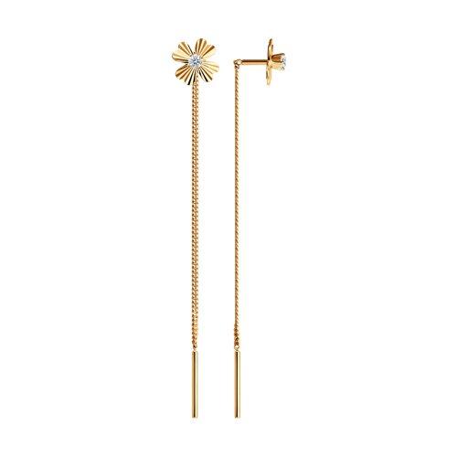 Серьги-цепочки из золота с алмазной гранью с фианитами (025302) - фото