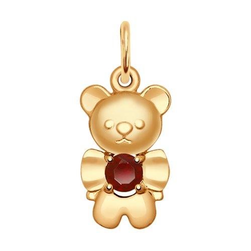 Подвеска «Медвежонок» из золота с гранатом (731568) - фото