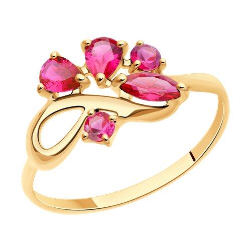 Кольцо из золота с корундами рубиновыми (синт.)