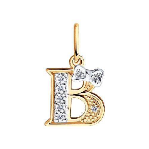 Подвеска-буква «В» из золота