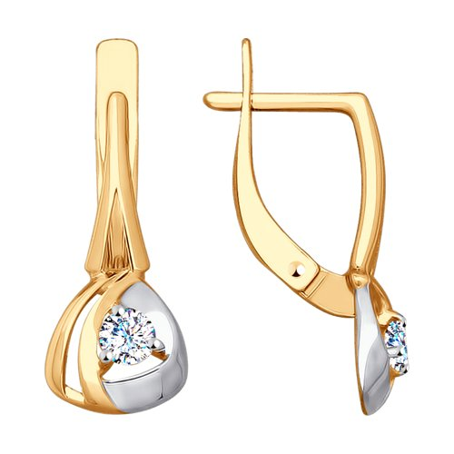 Серьги из золота с фианитами (028067) - фото