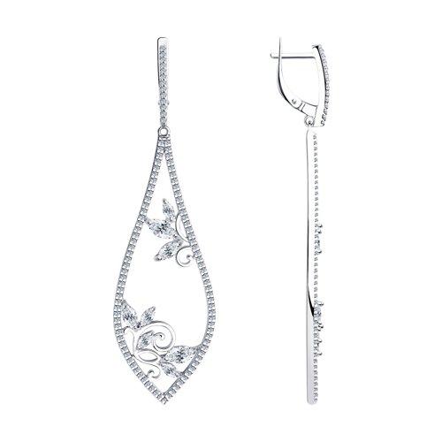 Серьги из серебра с фианитами (94023621) - фото