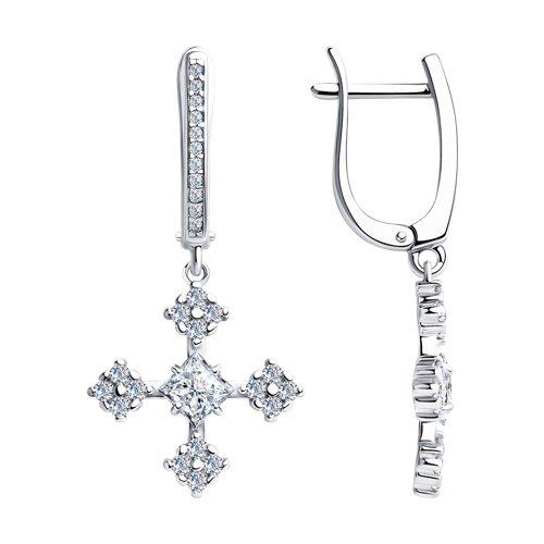 Серьги из серебра с фианитами (94023661) - фото