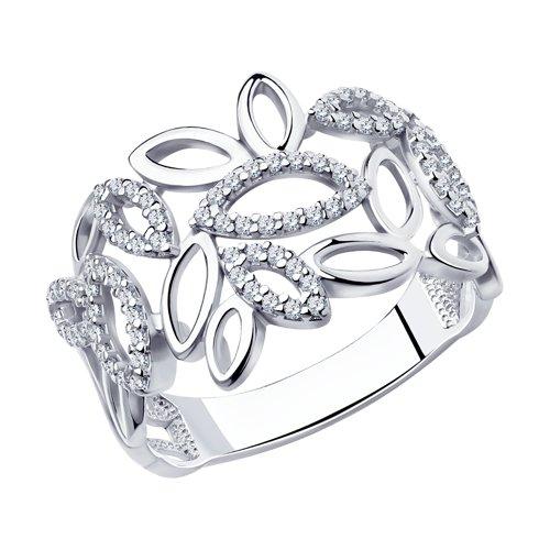 Кольцо из серебра с фианитами (94010603) - фото