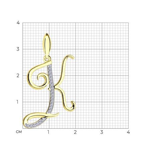 Подвеска из желтого золота с фианитами (034705-2) - фото №2