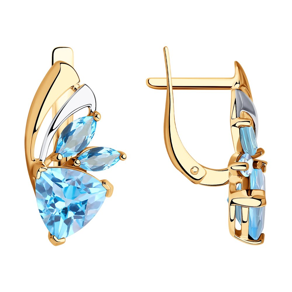 Серьги SOKOLOV из золота с голубыми топазами фото
