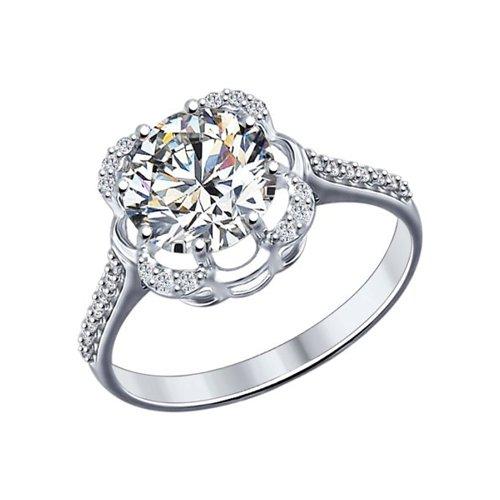 Кольцо из серебра с фианитами (94012026) - фото