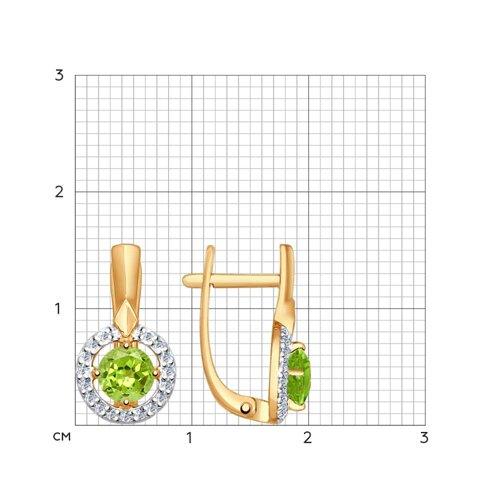 Серьги из золота с хризолитами и фианитами (724592) - фото №2