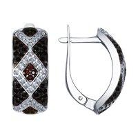 Серьги из серебра с бесцветными, коричневыми и чёрными фианитами