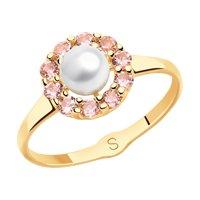Кольцо из золота с жемчугом и розовыми ситаллами