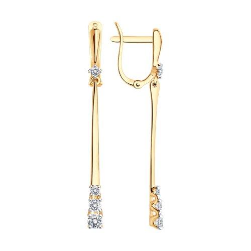 Серьги длинные из золота со Swarovski Zirconia