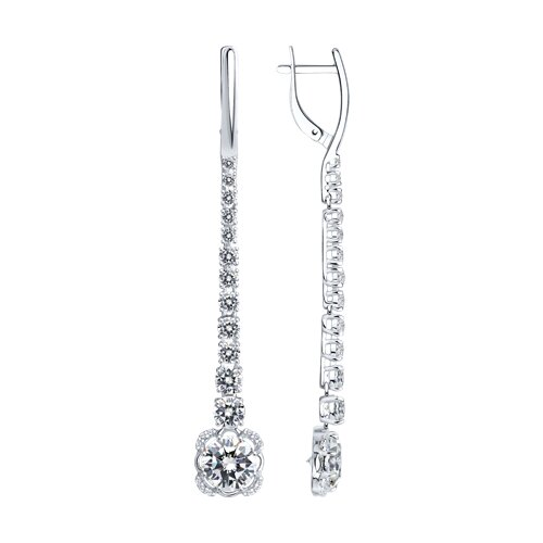 Серьги длинные из серебра с фианитами (94022213) - фото
