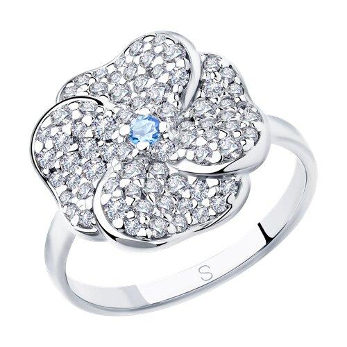 Кольцо из серебра с фианитами (94013006) - фото