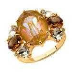 Кольцо из золочёного серебра с жёлтыми и коричневыми кристаллами Swarovski